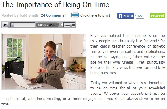 Importance of Bieng onTime
